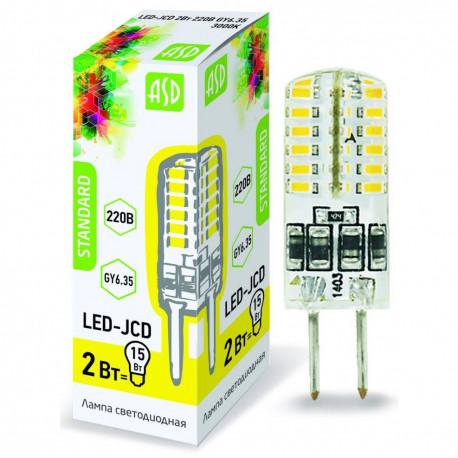 Лампа светодиодная ASD LED-JCD 2Вт 220В GY6.35 3000K, в Перми