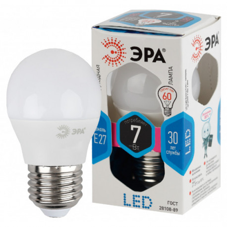Лампа СД ЭРА SMD P45 7Вт 840 E27 (10/100), в Перми