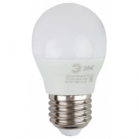 Лампа СД ЭРА ECO Р45 6Вт 827 Е27 (10/100), в Перми