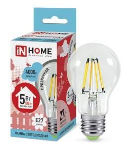 Лампа светодиодная IN HOME LED-A60-deco 5Вт Е27 прозрачная в