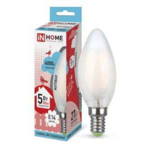 Лампа IN HOME LED-deco-СВЕЧА 5Вт 4000К Е14 матовая, в Перми