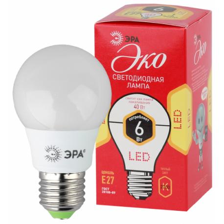 Лампа СД ЭРА ECO А55 6Вт 827 Е27 (10/100), в Перми