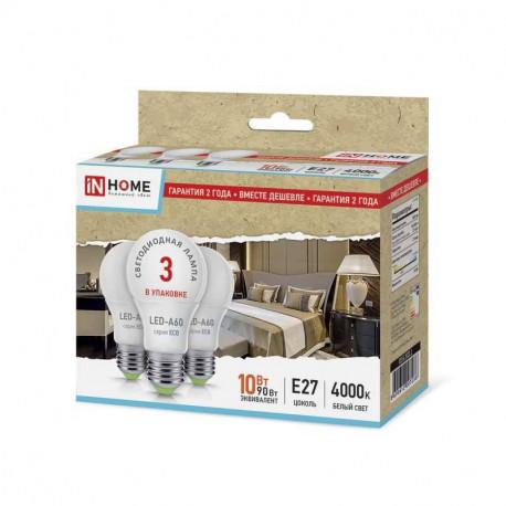 Лампа светодиодная IN HOME LED-eco-A60 Е27 4000К 10Вт, в Перми