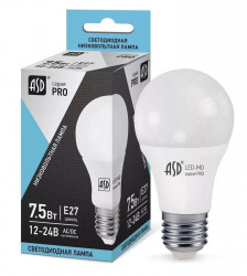 Лампа светодиодная ASD LED-MO-12/24V-PRO 7,5Вт 12-24В 4000К Е27