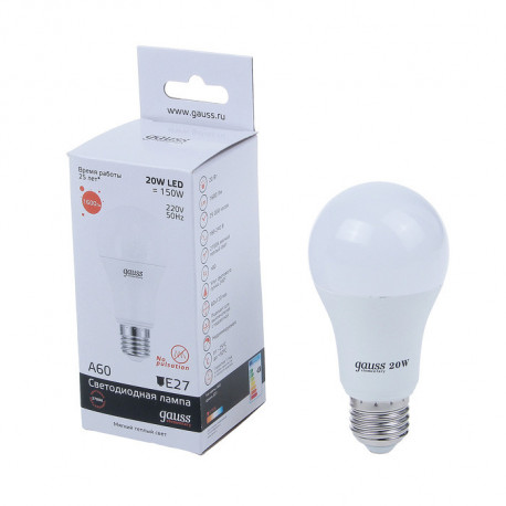 Лампа Gauss LED Elementary A60 20W E27 в ассортименте, в Перми