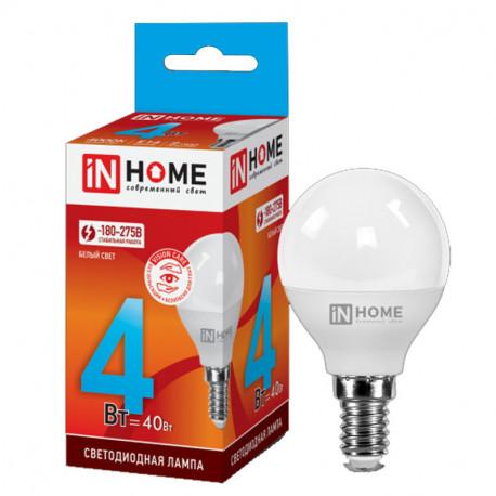 Лампа светодиодная LED-ШАР-VC 4Вт 230В Е14 3000К 360Лм IN HOME