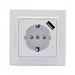 Розетка с USB 1А СП с/з 16А белая, в Перми
