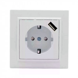 Розетка с USB 1А СП с/з 16А белая