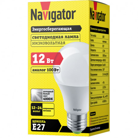 Лампа СД Navigator NLL-A60-12-12/24-4K-E27 (10/100), в Перми
