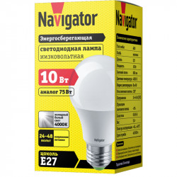 Лампа СД Navigator NLL-A60-10-24/48-4K-E27 (10/100)