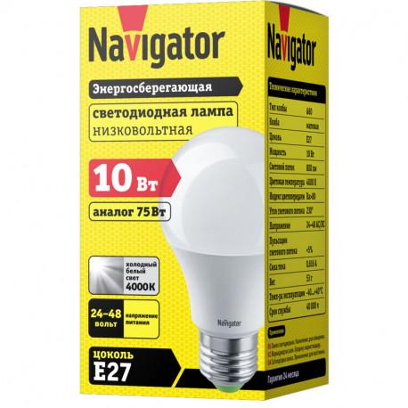 Лампа СД Navigator NLL-A60-10-24/48-4K-E27 (10/100), в Перми
