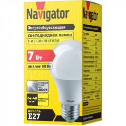 Лампа СД Navigator NLL-A60-7-24/48-4K-E27