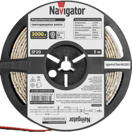 Лента СД Navigator NLS-3528WW120-9.6-IP20-12V R5 Теплая белая