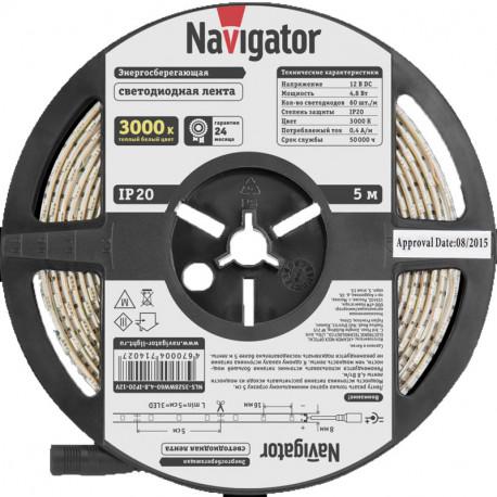 Лента СД Navigator NLS-3528WW60-4.8-IP20-12V Теплая Белая
