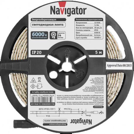 Лента СД Navigator NLS-5050CW30-7.2-IP20-12V R5 Холодная белая