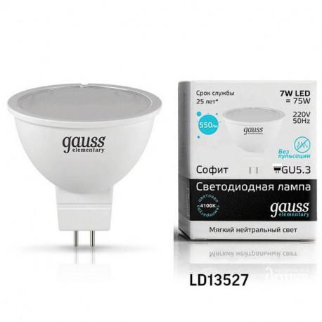 Лампа Gauss LED Elementary 7W MR16 GU5.3 4100K (10/100), в Перми