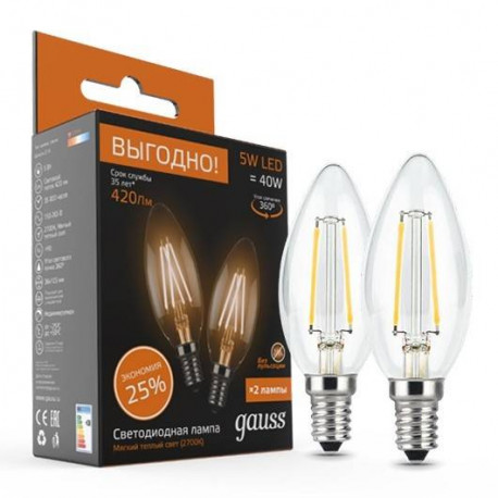 Лампа Gauss Filament Свеча E14 5W в ассортименте, в Перми