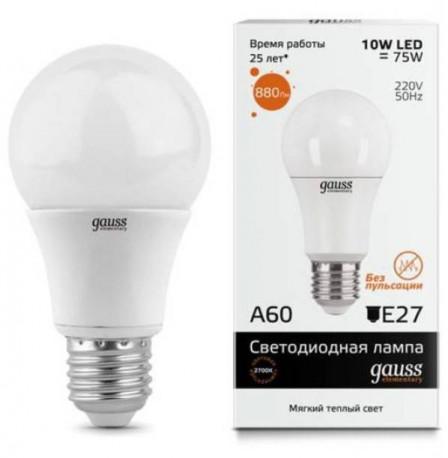 Лампа Gauss LED Elementary A60 10W E27 в ассортименте, в Перми