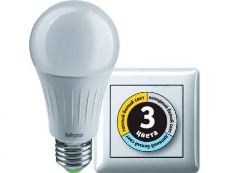 Лампа светодиодная Navigator NLL-A60-10-230-3COLOR-E27, в Перми