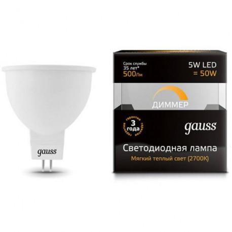 Лампа Gauss LED 5W MR16 GU5.3-dim в ассортименте, в Перми