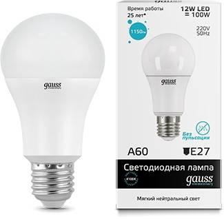 Лампа Gauss LED Elementary A60 12W E27 4100K, в Перми