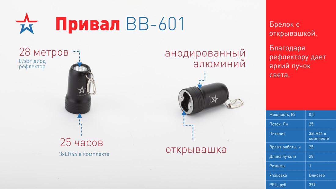 BB-601 Фонарь ЭРА АРМИЯ РОССИИ брелок Привал