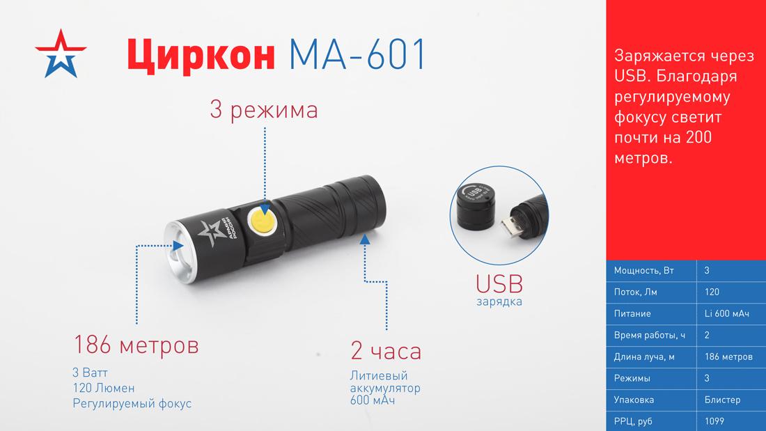 MA-601 Фонарь ЭРА АРМИЯ РОССИИ универсальный Циркон