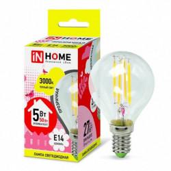Лампа светодиодная IN HOME LED-Шар-deco 5Вт 3000К Е14